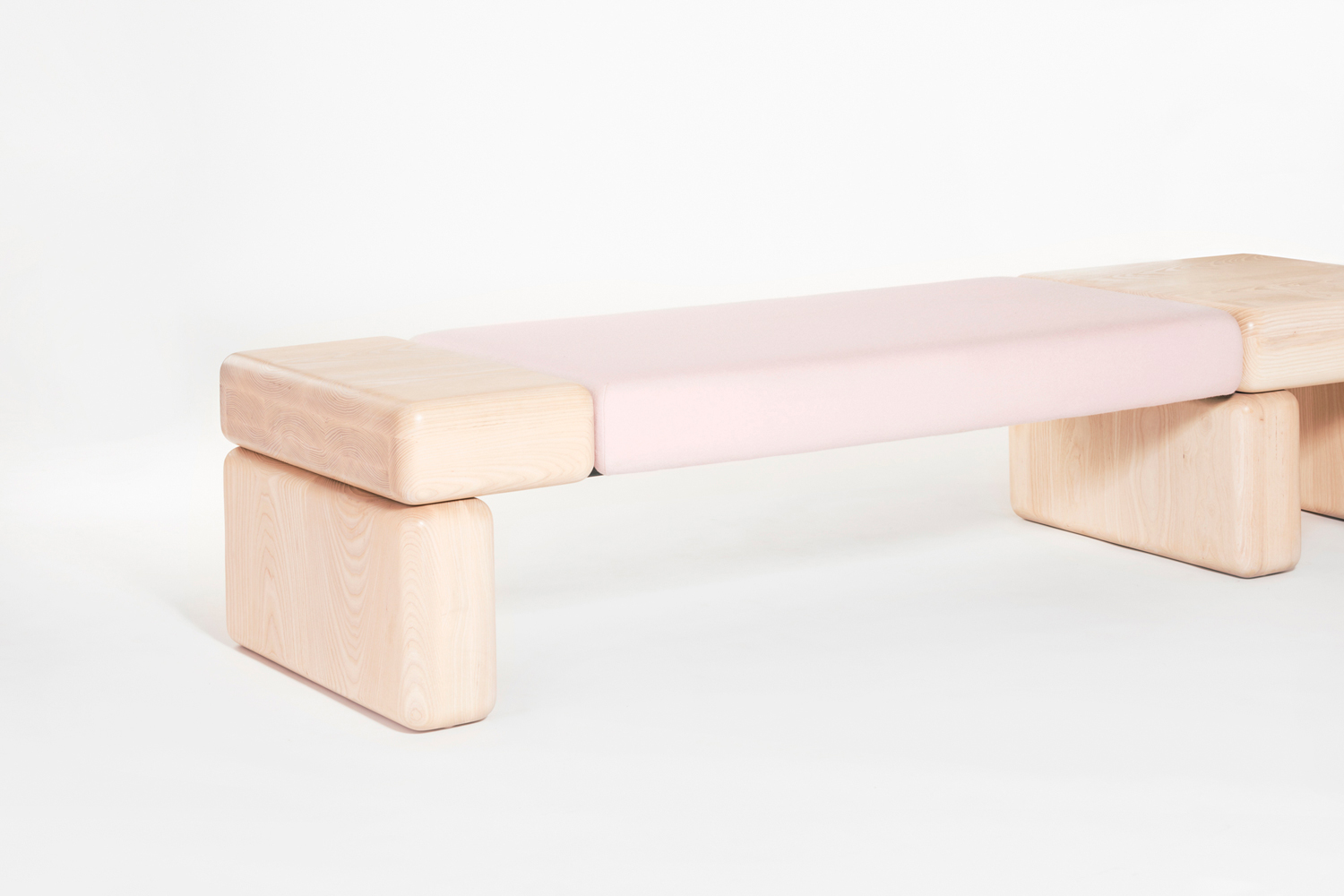 Pink Pillowy Bench angled