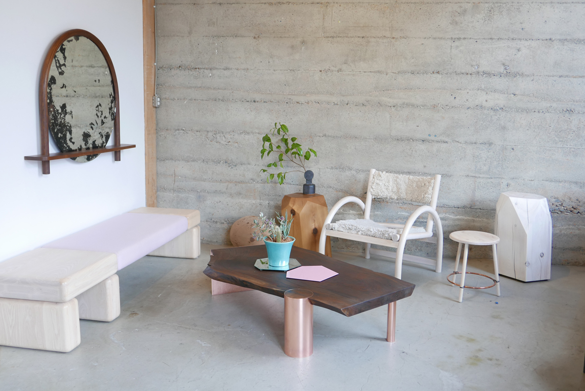 Pillowy Bench with Oxbow Mirror, Shepherd's Chair, Arbutus Slab, Little Gem and Findhorn Stool